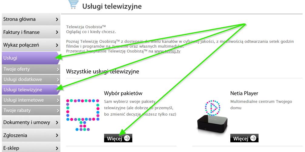 Pakiety TV Netii